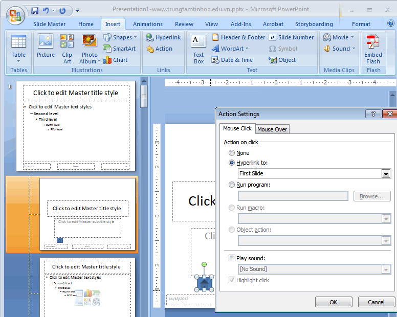 Hướng dẫn tạo Action Button trong Powerpoint 2010