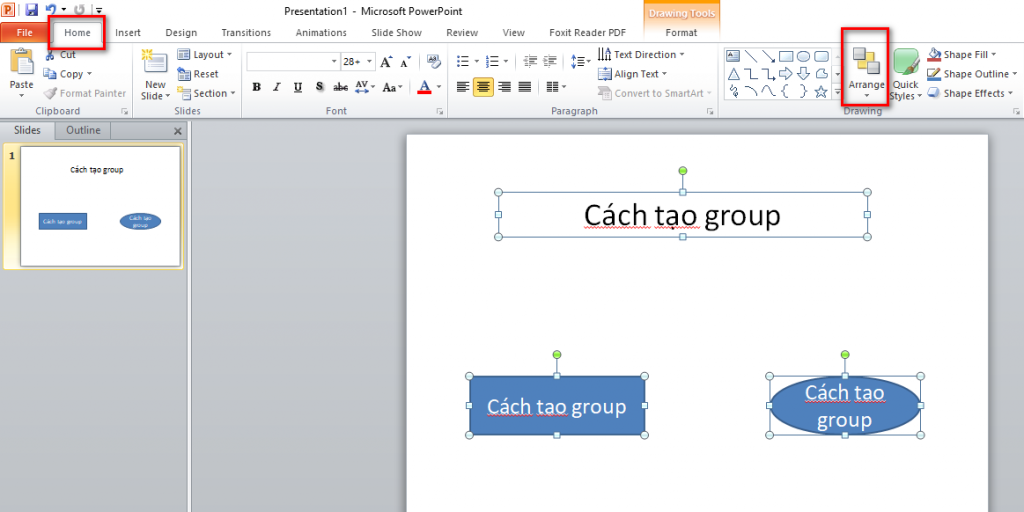 Tạo group trong PowerPoint 2010